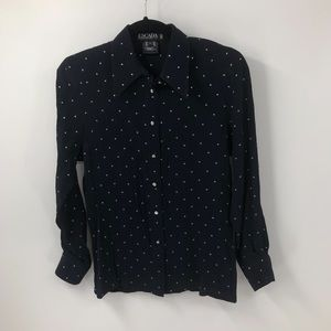 Escada Star Print Button Front Silk Shirt 34 S
